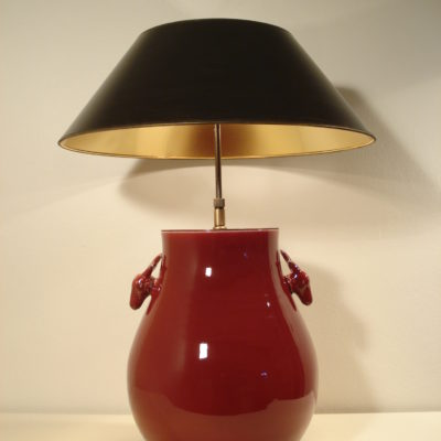 SI-230 - Tischleuchte, Lampenfuss in roter Keramik, SIgnature Collection